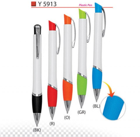 Rubberized Grip Plastic Pen (Y5913)