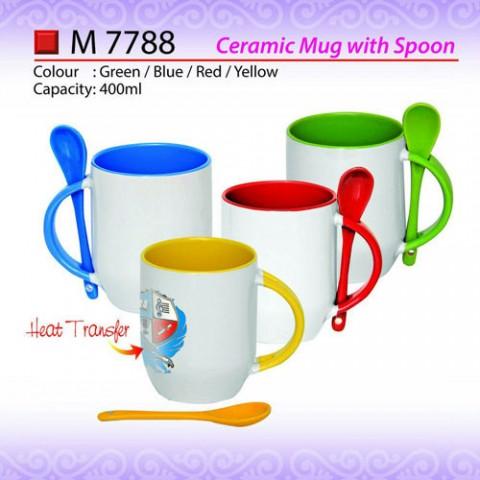 Ceramic Mug with Spoon (M7788)
