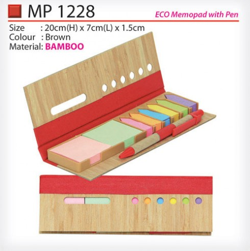 Bamboo Post It note with Pen (MP1228)