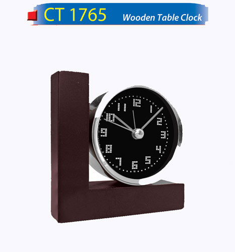 L-Shape Wooden Table Clock (CT1765)