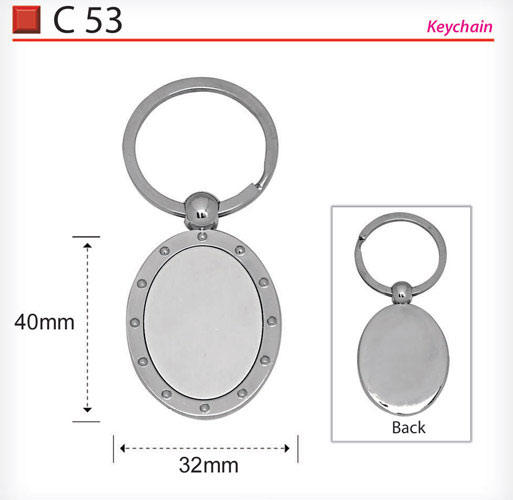 Oval Shape Metal Keychain (C53)