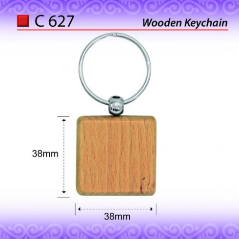 Square Wooden Keychain (C627)
