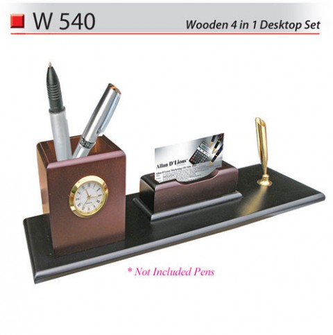 Wooden 4 in 1 Desktop Set (W540)