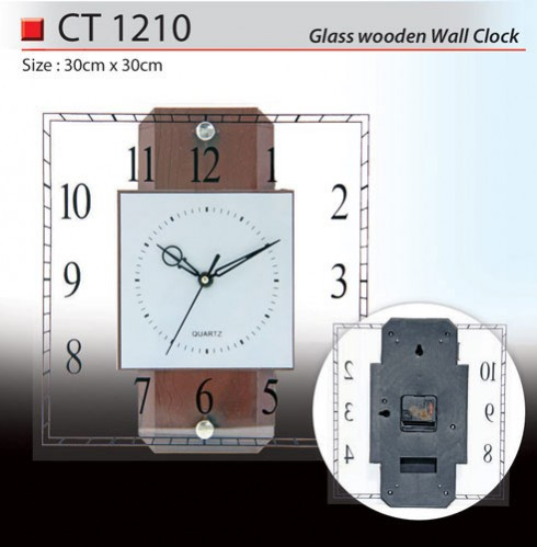 Glass Wooden Wall Clock (CT1210)