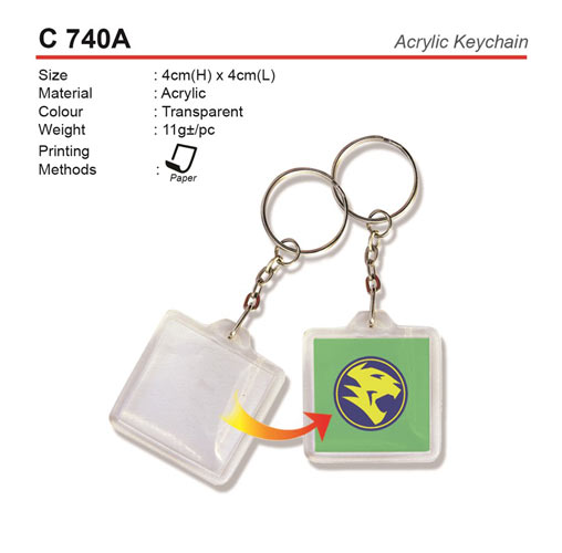 Square shape plastic keychain.