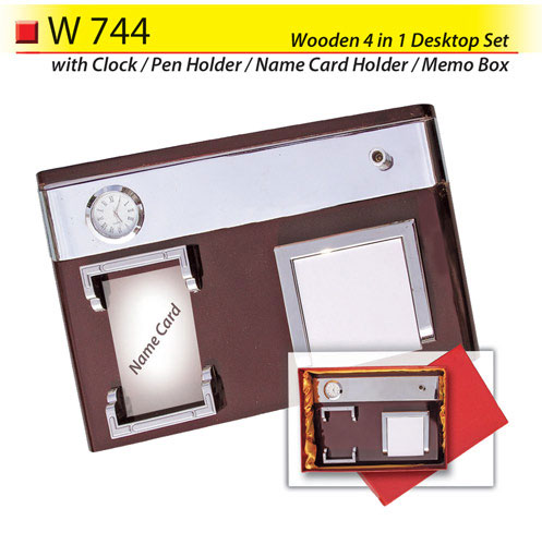 Wooden 4 in 1 Desktop Set (W744)