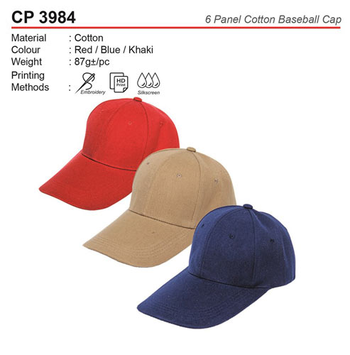 6 Panel Cotton Cap (CP3984)