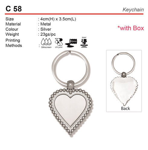 Love Shape Metal Keychain (C58)