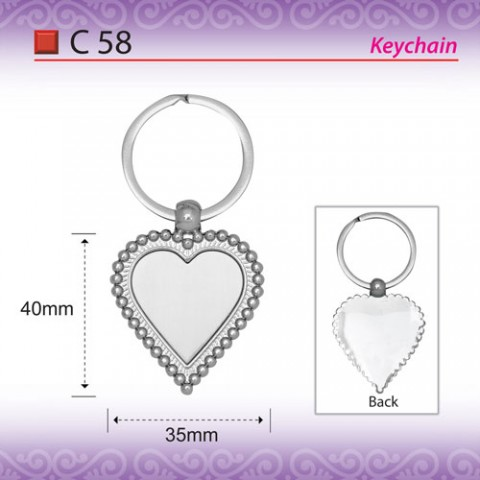 love shape metal keychain