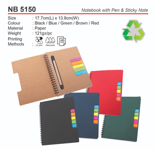 Notebook with pen and sticky note (NB5150)