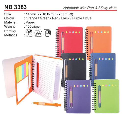 Notebook with pen & sticky note (NB3383)